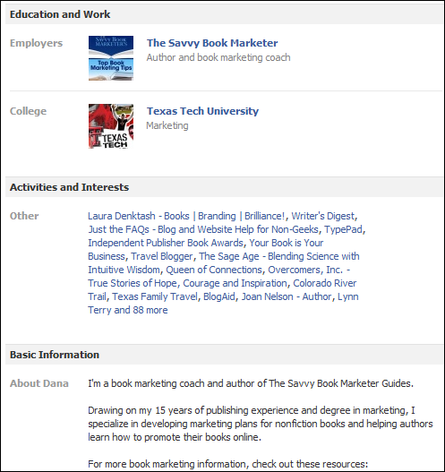 how to use the info tab on the new facebook profile the savvy book